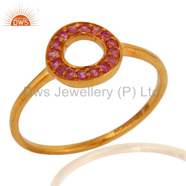 9K Yellow Gold Natural Pink Sapphire Gemstone Open Circle Ring