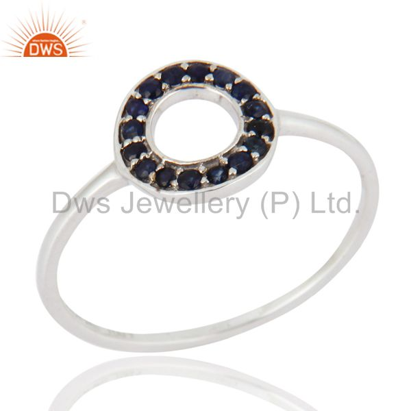Solid 9Kt White Gold Natural Blue Sapphire Gemstone Engagement / Wedding Ring
