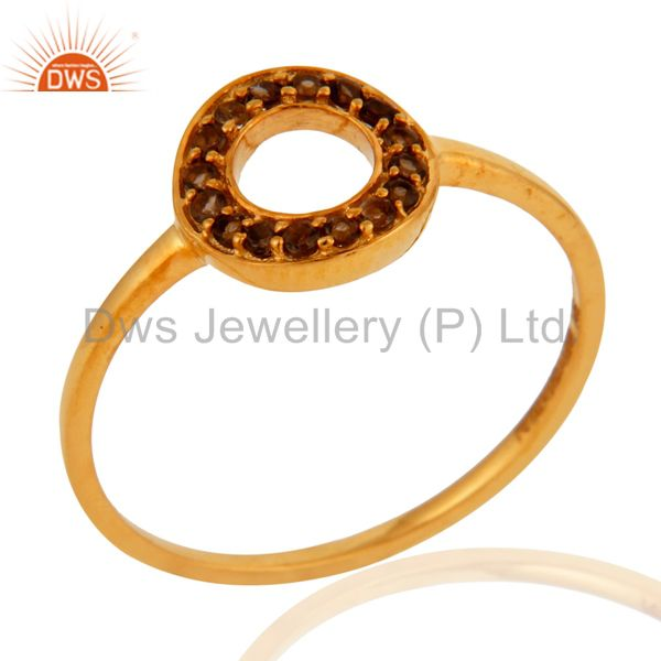 Handmade Natural Smoky Quartz Pave Set 9K Yellow Gold Ring Wedding Fine Jewelry