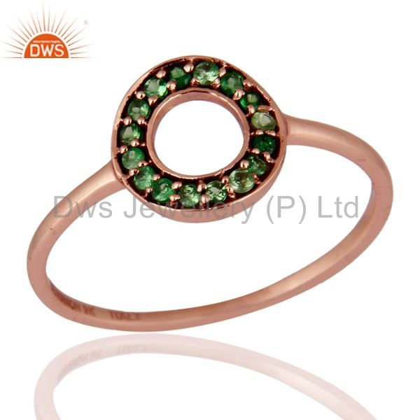 Tsavorite Gemstone Designer 9K Solid Rose Gold Engagement / Wedding Ring