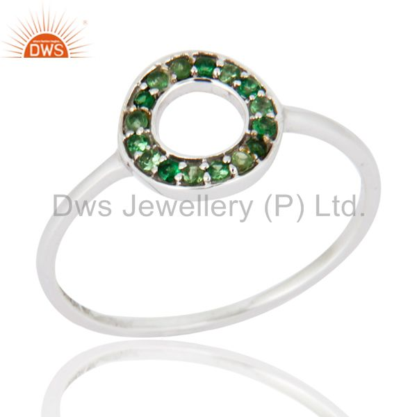 9K White Gold Tsavorite Gemstone Pave Circle Design Engagement Ring