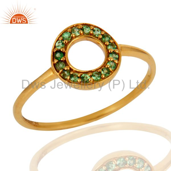 9K Solid Yellow Gold Tsavorite Gemstone Designer Wedding Ring