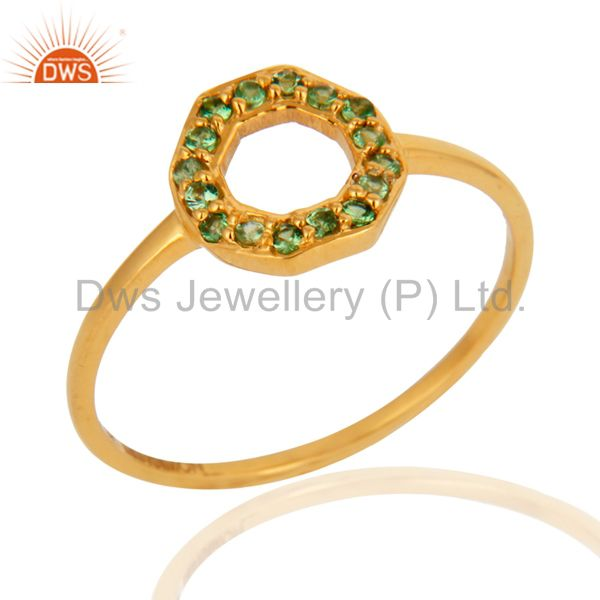 Stunning 9K Yellow Gold Natural Tsavorite Garnet Gemstone Stackable Ring