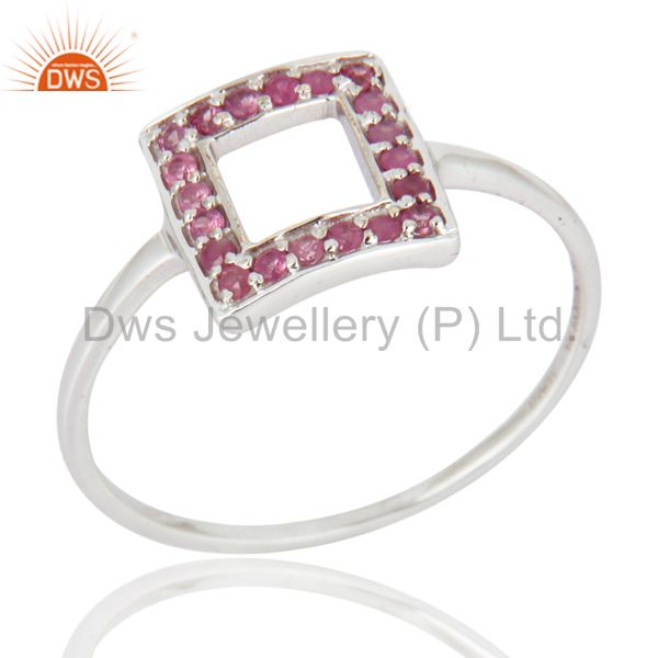 9-Karat White Gold Pink Sapphire Gemstone Engagement / Wedding Ring Fine Jewelry