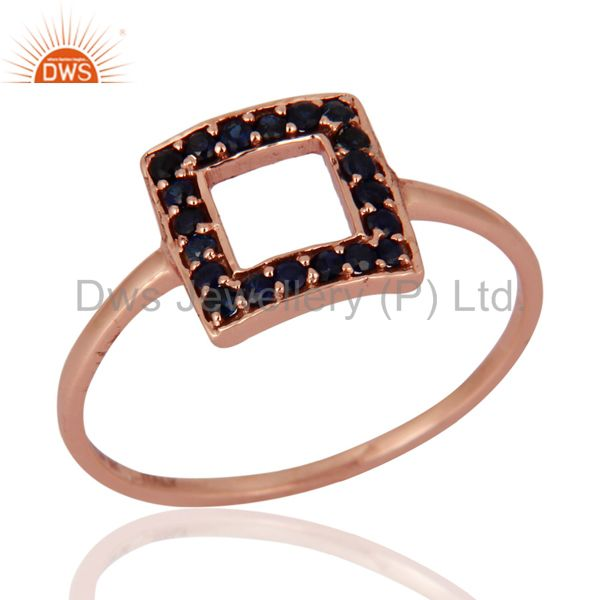 Gorgeous Blue Sapphire Gemstone 9k Solid Rose Gold Engagement Ring For Women