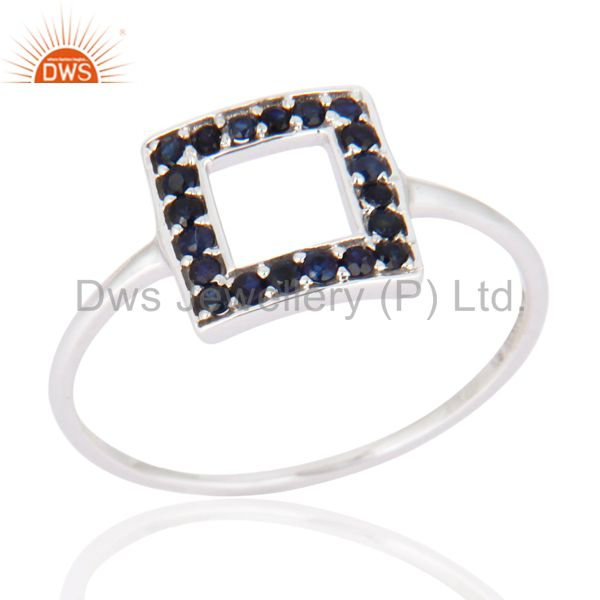 Blue Sapphire Gemstone Wedding Bridal Engagement Ring In Solid 9K White Gold