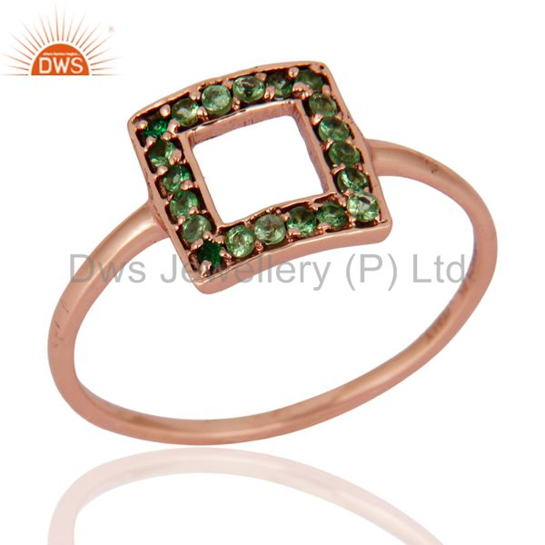 Natural Tsavorite Green Garnet Gemstone 9Kt. Solid Rose Gold Ring Fine Jewelry