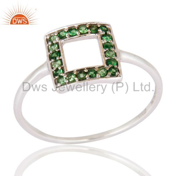 Natural Tsavorite Gemstone Wedding And Engagement Ring in 9k White Gold Jewelry