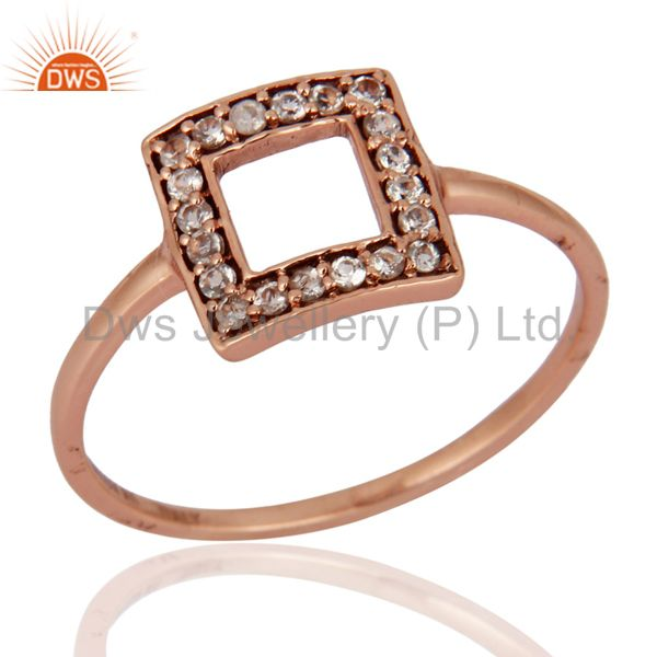 Natural White Topaz Gemstone 9K Rose Gold Solitaire Ring Wedding Fine Jewelry