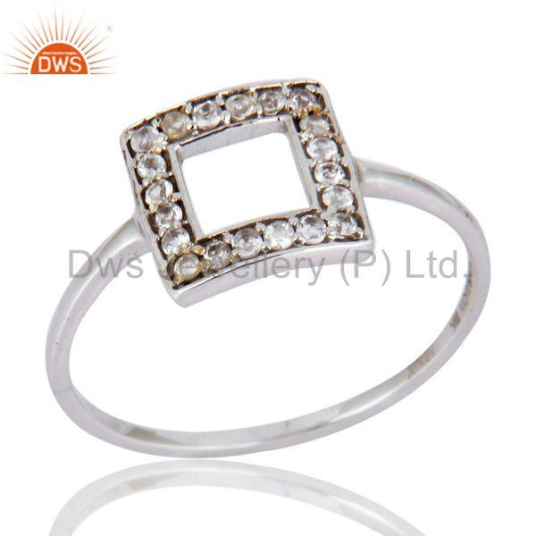 9K White Solid Gold Designer White Topaz Engagement Ring