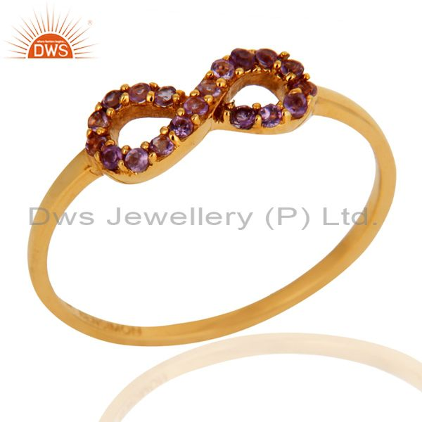 Stylish 9K Gold February Birthstone Amethyst Promise Knot Infinity Symbol Ring