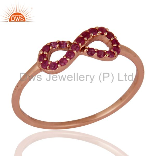 9K Solid Gold Pink Sapphire Gemstone Infinity Design Engagement / Wedding Ring