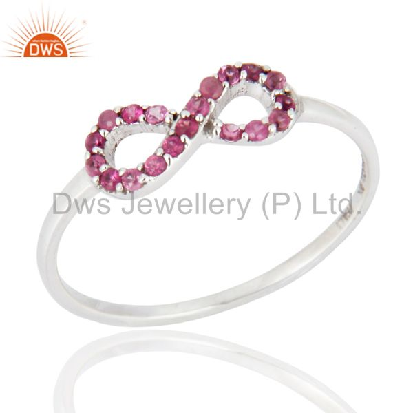 9K White Solid Gold Pink Sapphire Engagement and Wedding Ring With Pave Setting