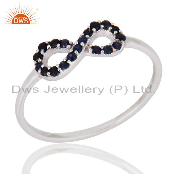 9K White Gold Blue Sapphire Gemstone Accent Infinity Symbol Ring