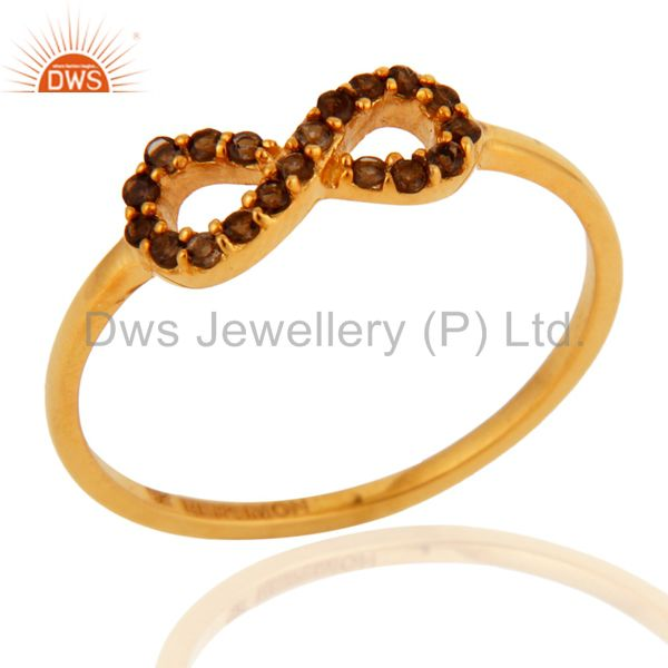 9K Solid Yellow Gold Pave Set Smoky Quartz Infinity Engagement Ring