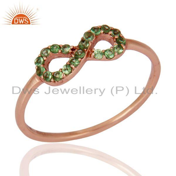 Natural Green Garnet Tsavorite Gemstone 9K Solid Rose Gold Infinity Wedding Ring