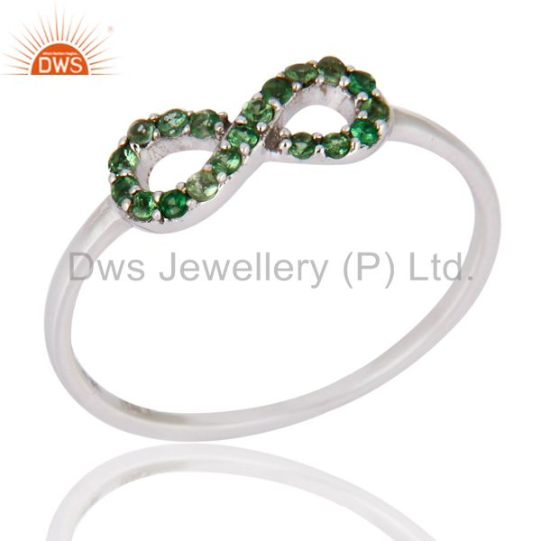 Green Garnet Tsavorite Gemstone 9K Solid White Gold Infinity Wedding Ring