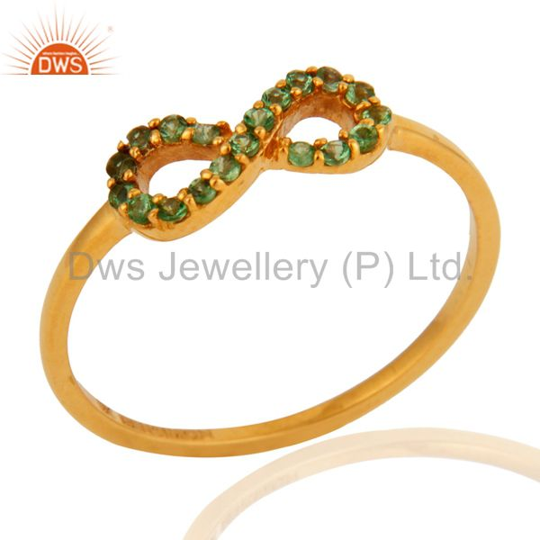 Natural Green Garnet Tsavorite Gemstone 9K Solid Gold Infinity Wedding Ring