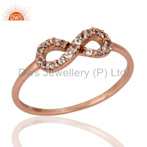 White Topaz Accent Promise Infinity Ring Made in Solid 9K Rose Gold Jewelry