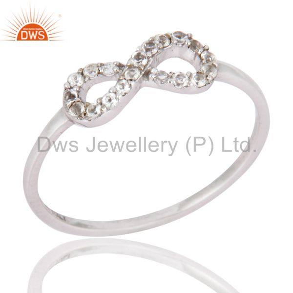 White Topaz Accent Promise Infinity Ring Made in Solid 9K White Gold Jewelry