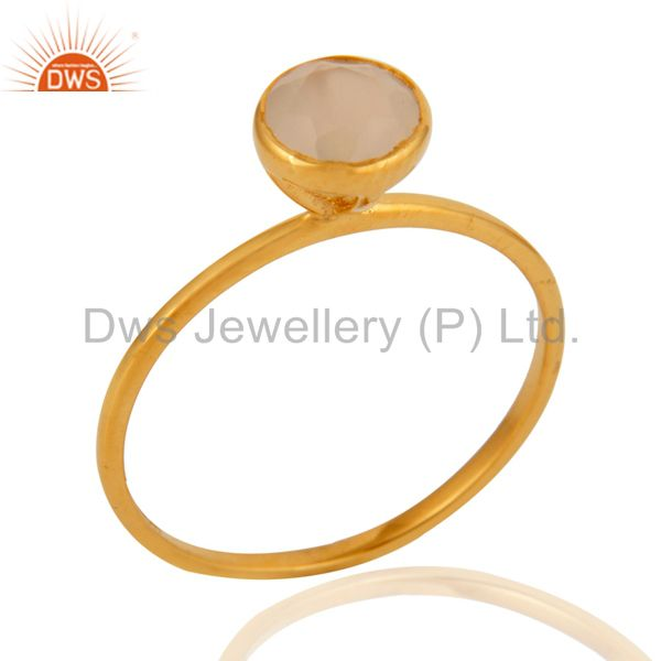Beautiful Handmade 9ct Yellow Solid Gold Natural White Agate Gemstone Ring