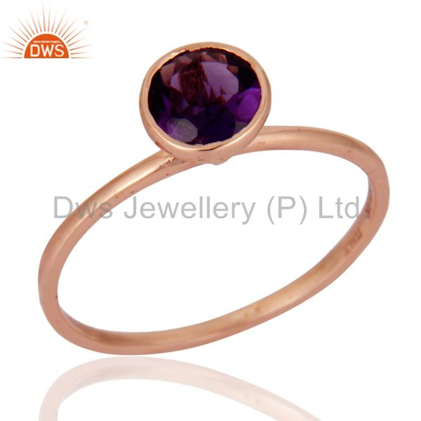 Handmade 9ct Rose Solid Gold Natural Amethyst Gemstone Engagement Rings