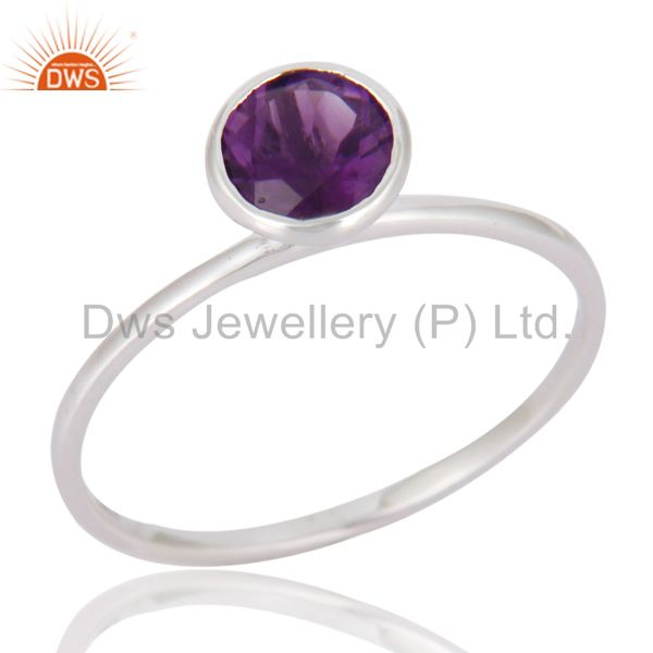 Handmade 9K Solid White Gold Natural Amethyst Gemstone Engagement Ring Size 8