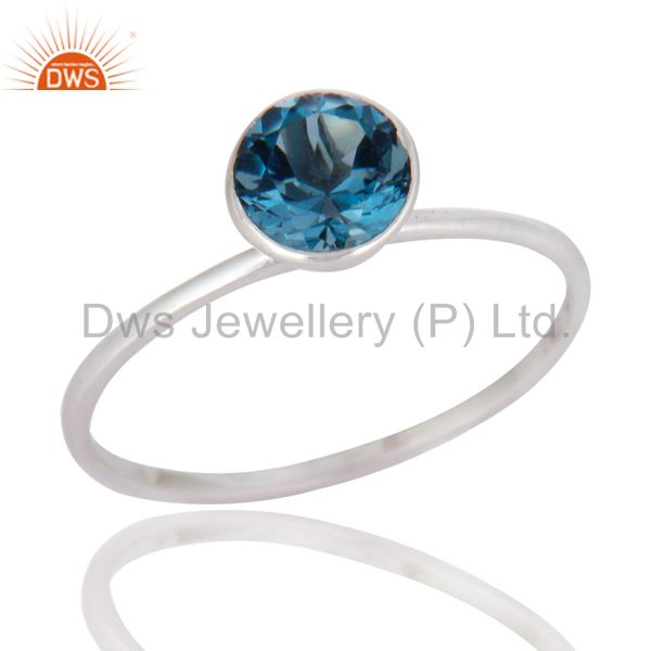 Handmade 9K Solid White Gold Natural Blue Topaz Gemstone Engagement Ring Size 8