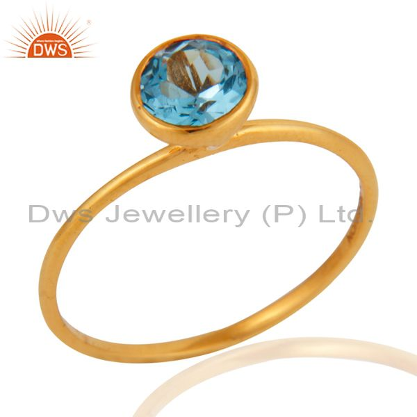 Handmade 9K Solid Yellow Gold Natural Blue Topaz Gemstone Engagement Ring Size 8
