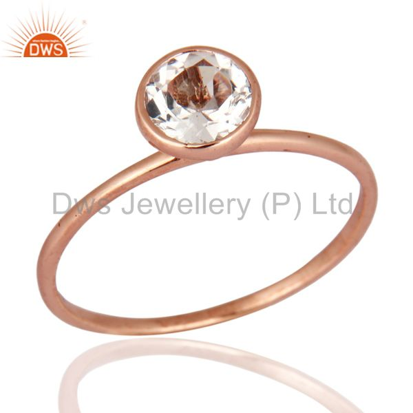 9K Solid Rose Gold Natural Crystal Quartz Wedding And Engagement Stackable Ring