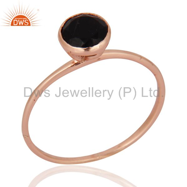 9ct Rose Solid Gold Natural Black Onyx Gemstone Engagement / Wedding Ring