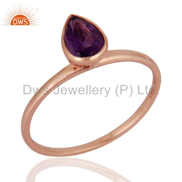 9K Solid Rose Gold Genuine Amethyst Pear Shape Gemstone Engagement Ring Size 8