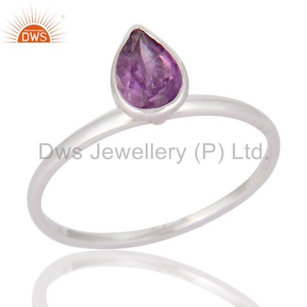 Solid 9-Carat White Gold Natural Amethyst Pear Cut Gemstone Engagement Ring Sz 8