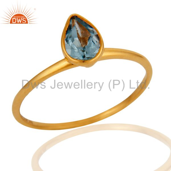 Designer 9K Yellow Gold Pear Shaped Blue Topaz Gemstone Ring
