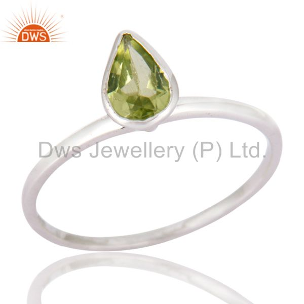 Solid 9K White Gold Peridot Gemstone August Birthstone Ring