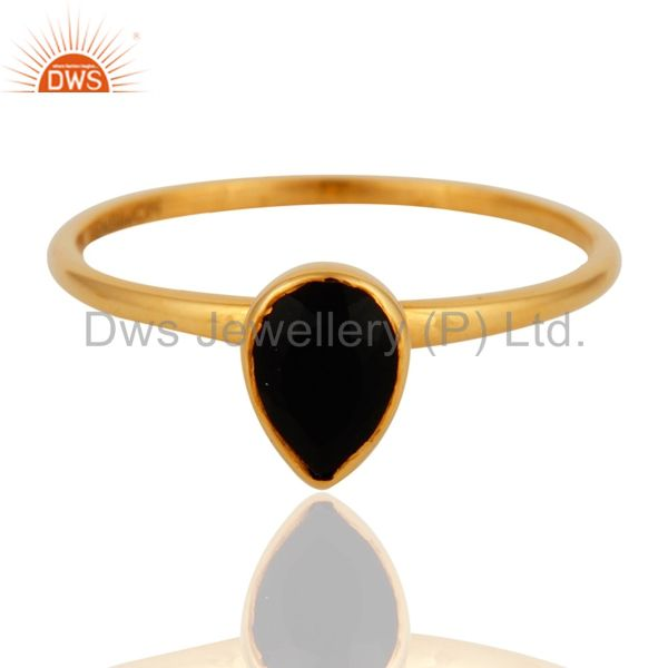 9K Solid Yellow Gold Genuine Black Onyx Pear Shape Gemstone Stack Ring Size 8