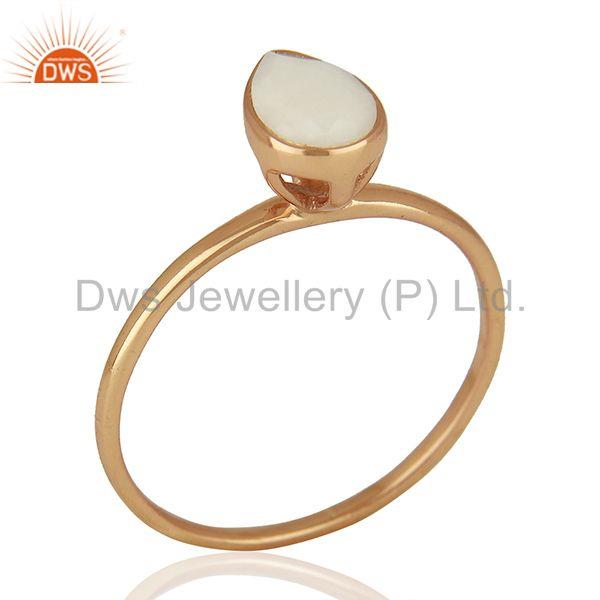 Rose Gold Plated Silver Agate Gemstone Girls Ring Manufacturer