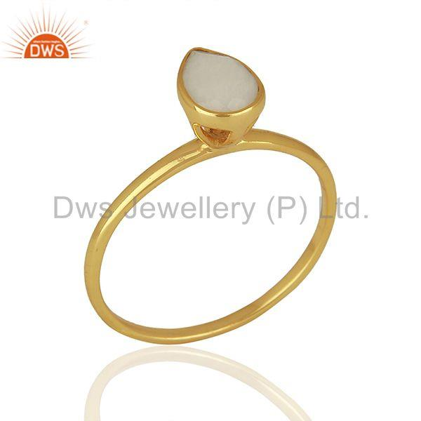 Yellow Gold Plated Silver Agate Gemstone Ring Jewelry Supplier