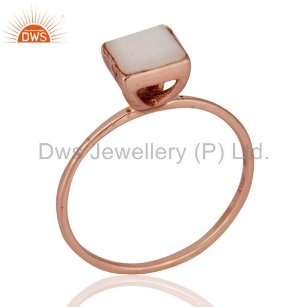 9K Rose Gold White Agate Square Shape Gemstone Bezel Set Wedding Stacking Ring
