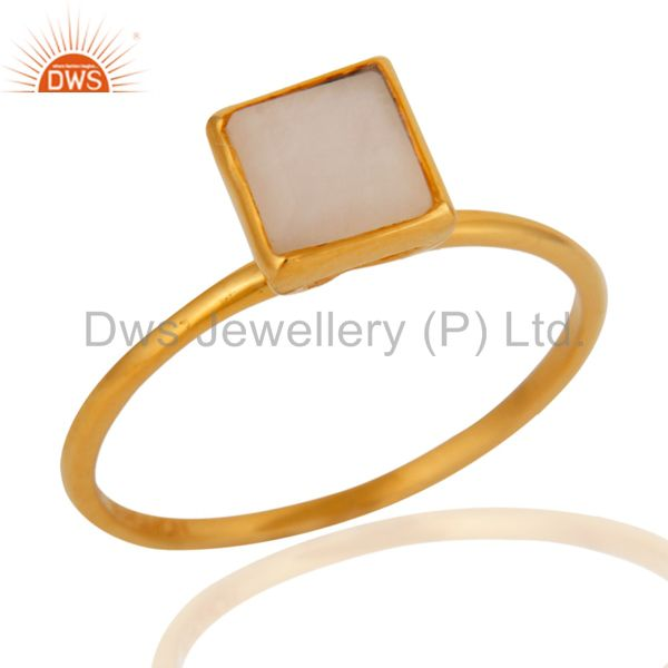 9K Yellow Gold White Agate Square Shape Gemstone Bezel Set Stacking Ring