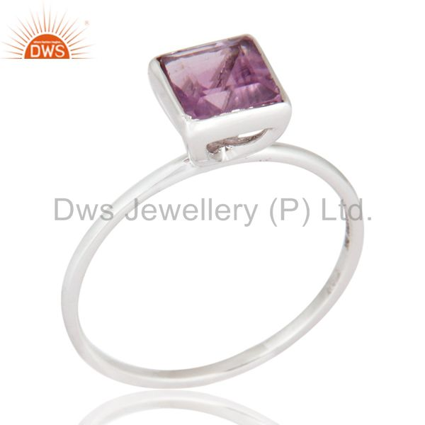 Fine Jewelry - 9K White Gold Natural Amethyst Engagement & Wedding Band Ring