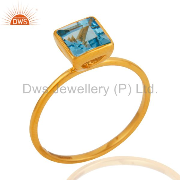 9Kt Yellow Gold Blue Topaz Gemstone December Birthstone Stackable Ring