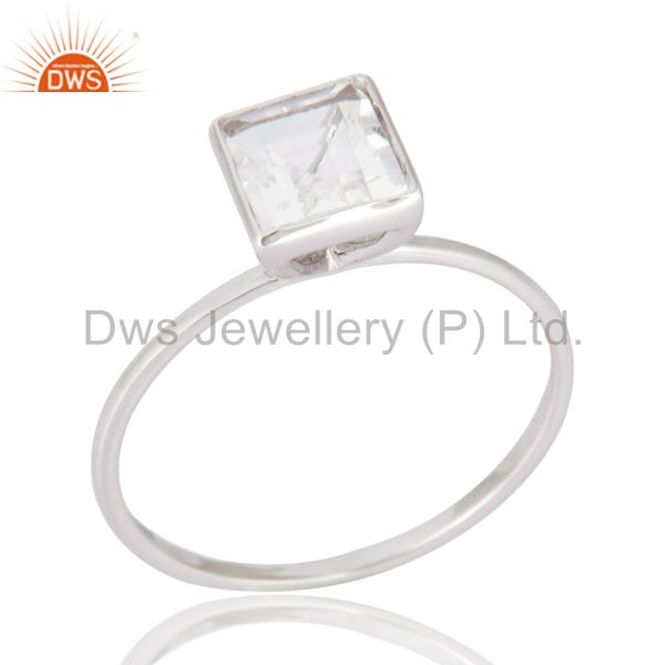 Square-Cut Smoky Quartz Gemstone Solid 9K White Gold Wedding Stacking Ring