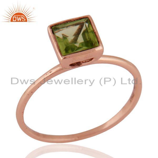 9K Solid Rose Gold Peridot Square Shape Gemstone Engagement / Wedding Ring