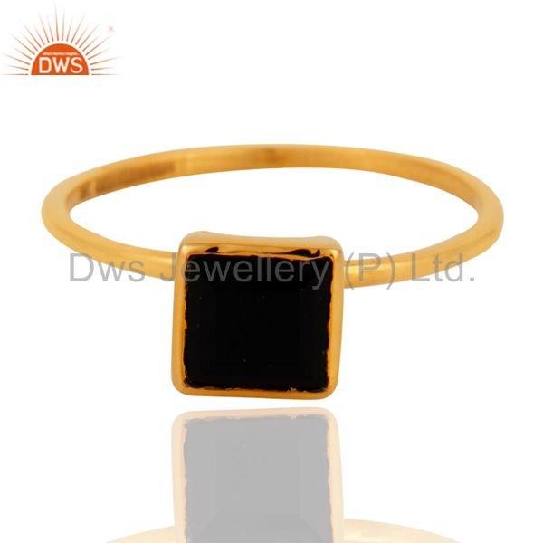 9K Solid Yellow Gold Black Onyx Gemstone Womens Engagement Stacking Ring