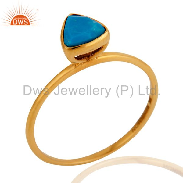 Handmade Designer 9k Yellow Gold Natural Turquoise Gemstone Stacking Ring Jewelr