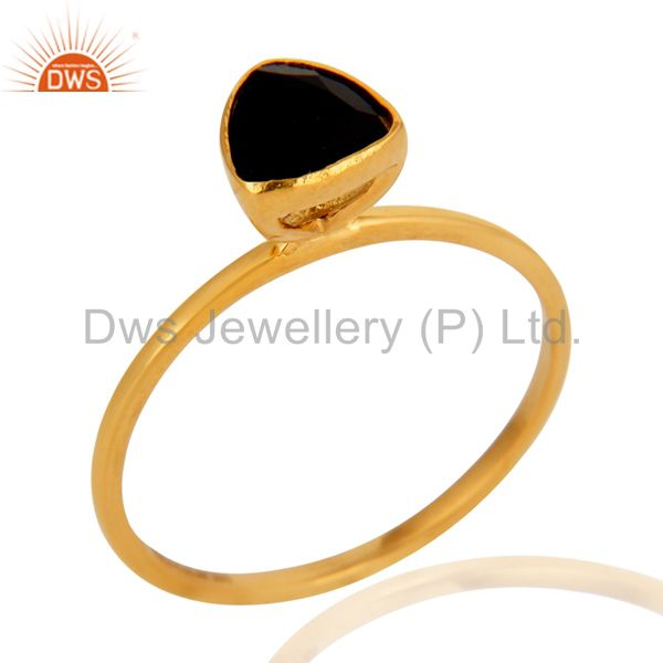 9K Solid Yellow Gold Trillion Cut Black Onyx Womens Engagement Stacking Ring