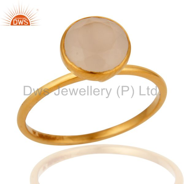 9K Yellow Gold White Agate Round Shape Gemstone Stackable Ring
