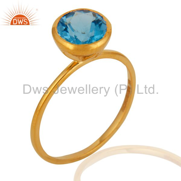 9K Solid Yellow Gold Round Cut Blue Topaz Engagement Stacking Ring