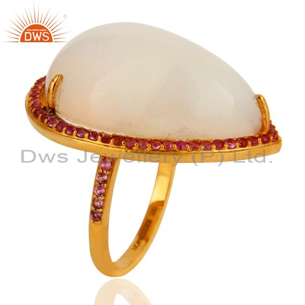 Handmade Natural Fire Opal Gemstone 9K Yellow Gold Ring With Pink Sapphire